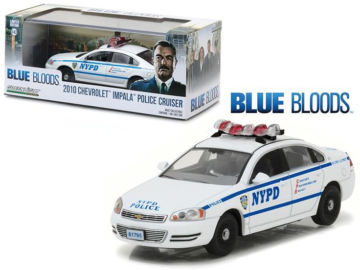 "2010 Chevrolet Impala NYPD New York Police Department Interceptor from \Blue Bloods"" (2010 Current) TV Series 1/43 Diecast Model Car by Greenlight"""