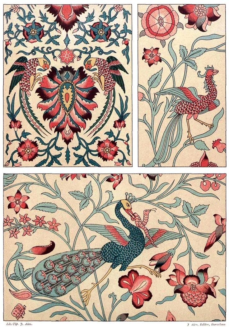 Persian art: printed fabric.  From Galería del arte decorativo (Gallery of Decorative Art) vol. 2, collective work, Barcelona,  1890.  (Source: Universitat Autonoma de Barcelona)