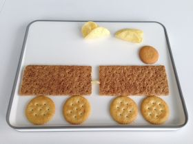 cookie, cracker and chips train sensory, food play, feeding therapy activity for picky eaters