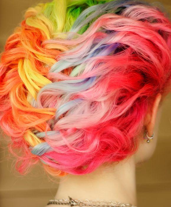 Rainbow braids updo   Hair, Makeup, Nails   Pinterest Rainbow Braids