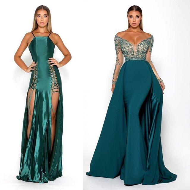 The Chantel & the Princess emerald gowns by #portiaandscarlett at #SHAIDE   .  .  .  .  .  .  #prom #formal #wedding #bridesmaids #bride #evening #emerald #gowns #dresses #dress #boutique #eveningwear #graduation #promposal
