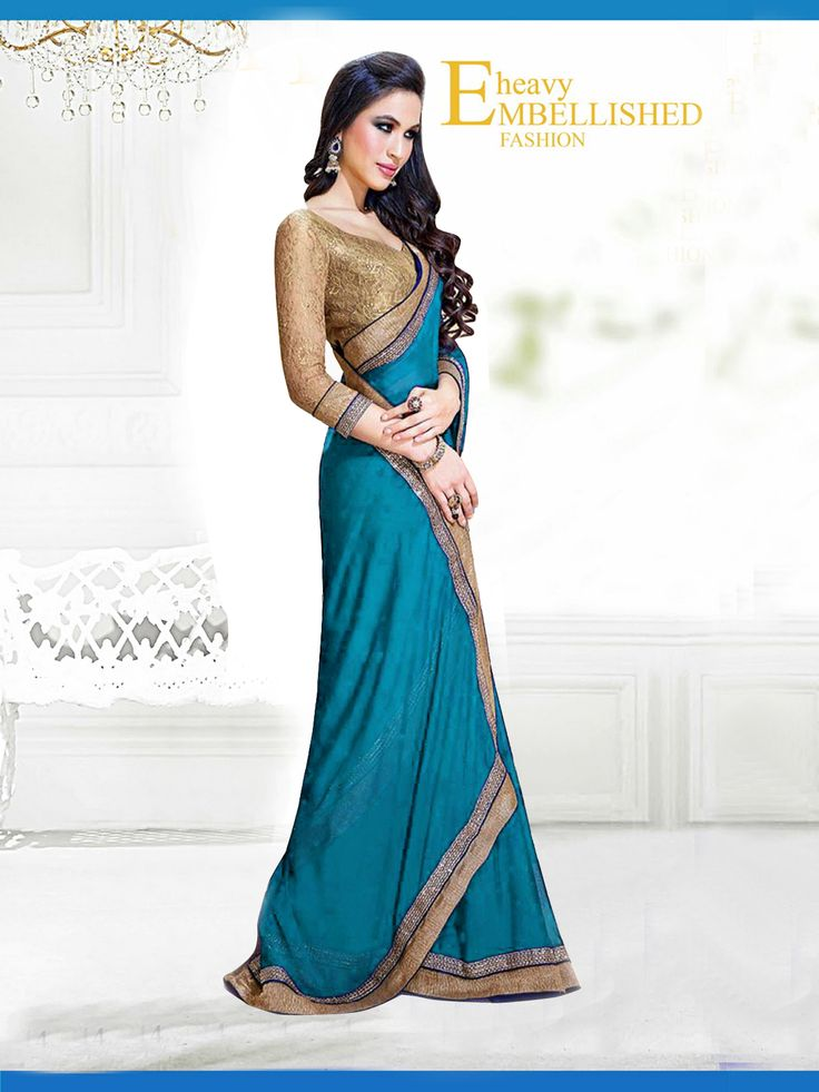 Fabric/Material:- #Saree : Dhupian|Blouse: #Chiffon | Pattern: #Printed Color: #SkyBlue Size : Saree: 5.50Mtr. | Blouse: .80Mtr. | Price: 615/- #SuratTex