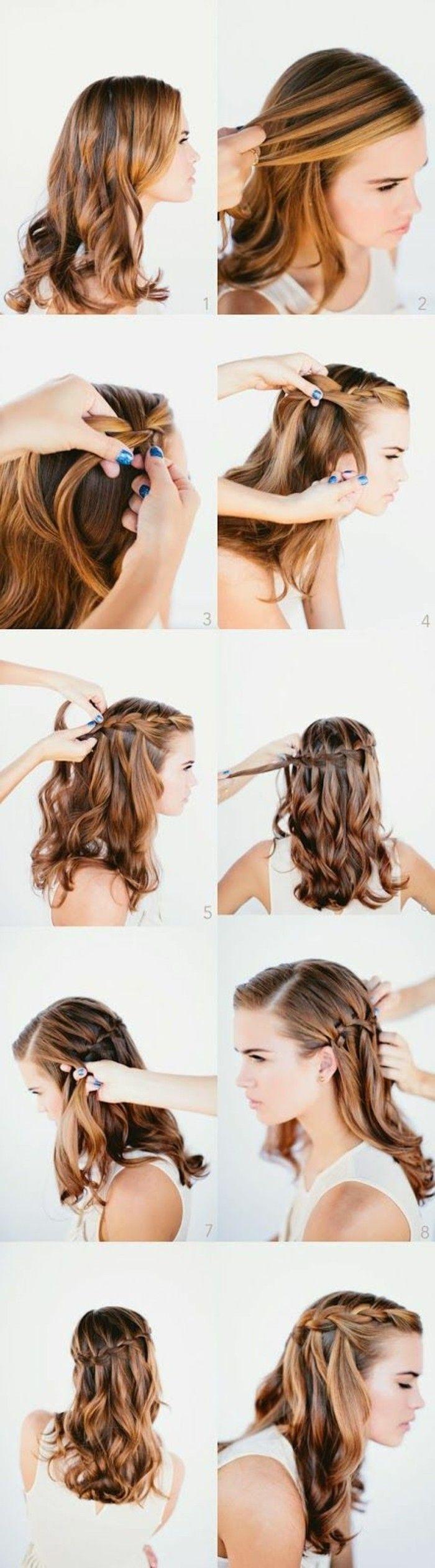 tuto coiffure simple et rapide, tutoriel coiffure femme, cheveux mi courts