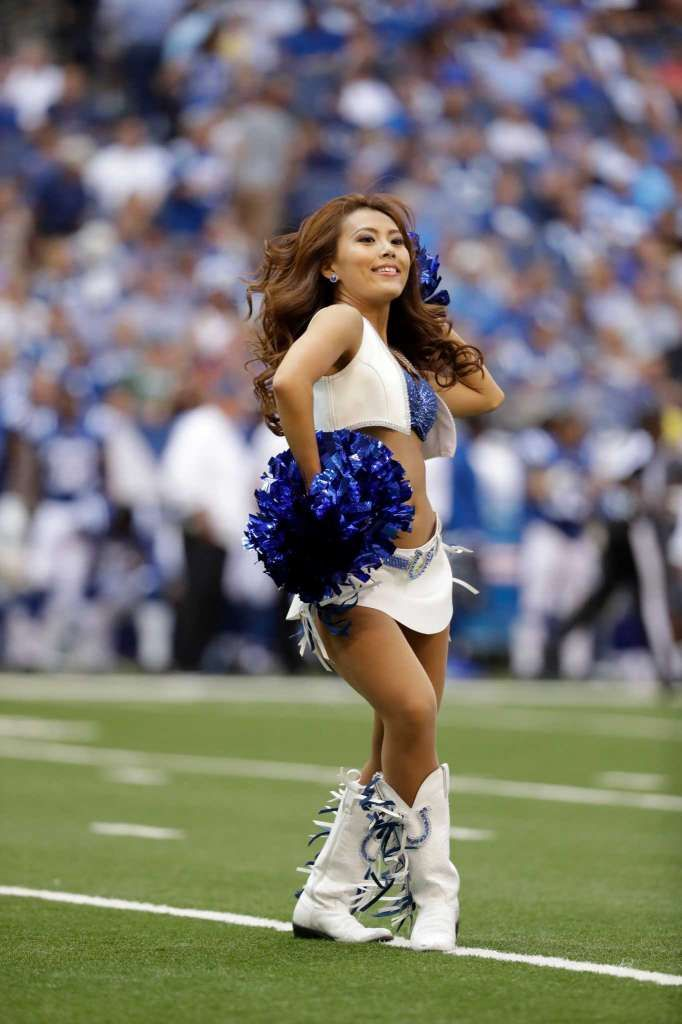 A Indianapolis Colts cheerleaders performs during the first half of an NFL…