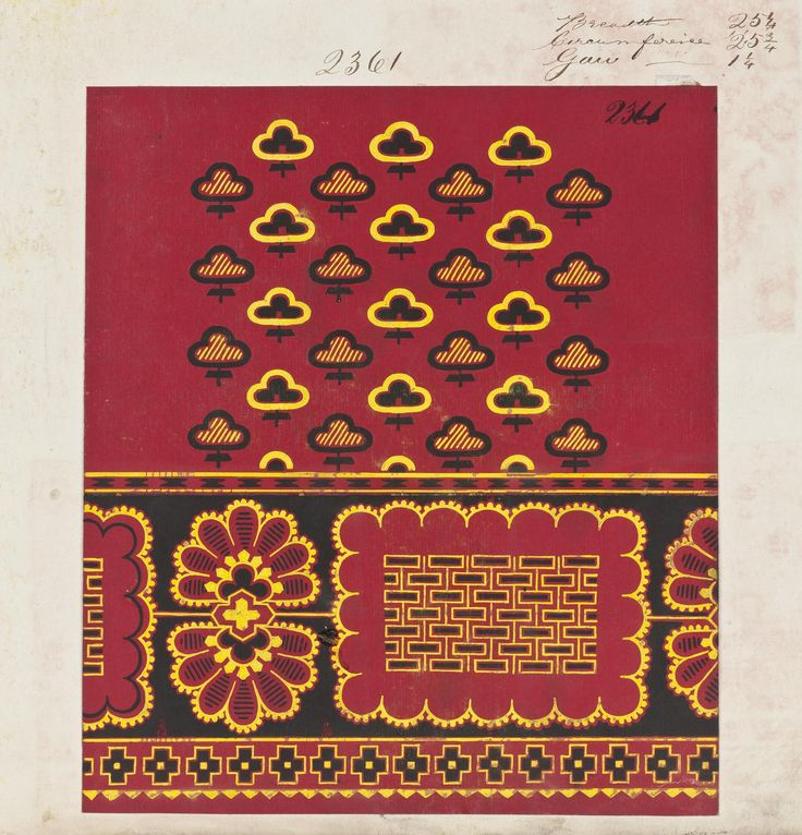 Textile design painted on paper for a filling and border pattern which has yellow and black abstract shapes in the filling, an inner border of scalloped edged shapes and an outer border of cross motifs. From the '1867 Cylinder' pattern book, part of the Turkey Red Collection A.1962.1266.1 - A.1962.1266.78, with subdivisions, totalling c. 40,000 items: Scottish, Dunbartonshire, by John Orr Ewing and Co., 1867