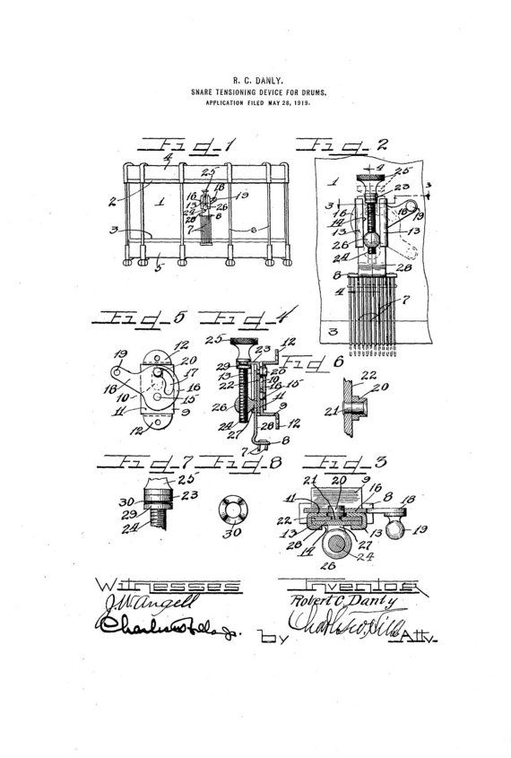 Ludwig Snare Drum 1920s Patent Art Drawing by GuitarsPatents, $9.99