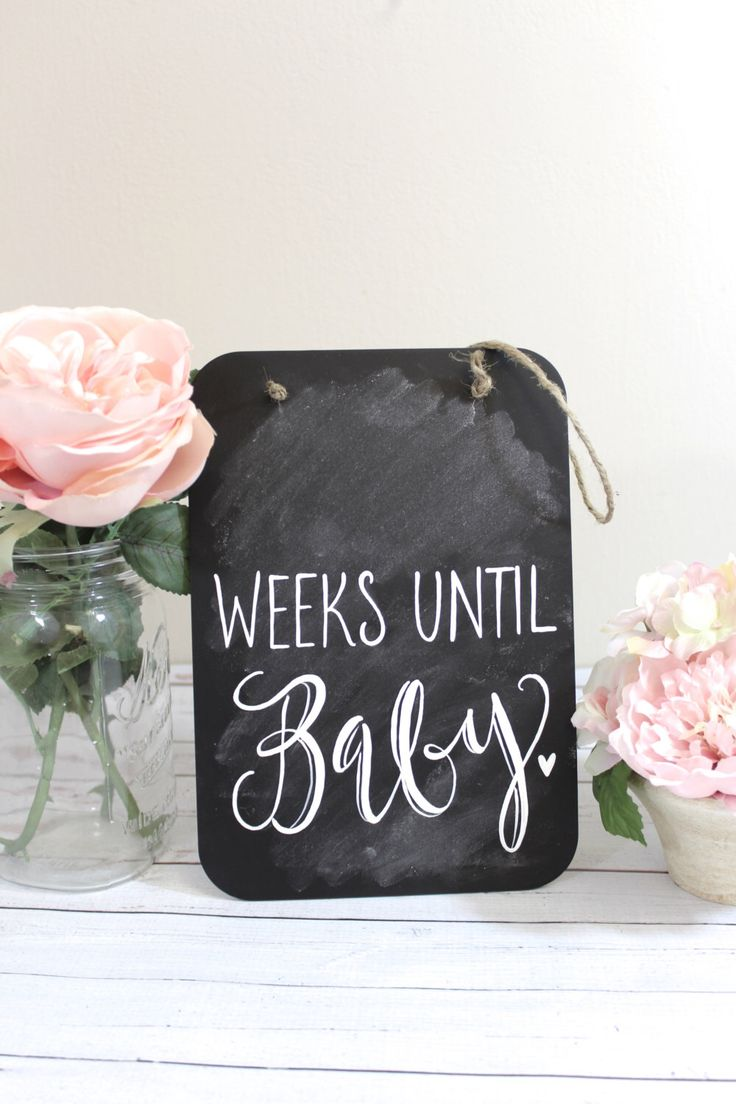 Pregnancy Countdown Chalkboard Sign, Maternity Photo Prop, Weeks Until Baby, New Mom Gift by ThePaperWalrus on Etsy