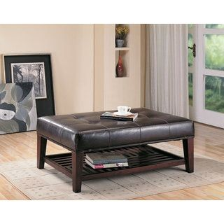 Shop For Coaster Company Brown Faux Leather Tufted Ottoman With Shelf. Get Free  Shipping At. Furniture OutletOnline ...