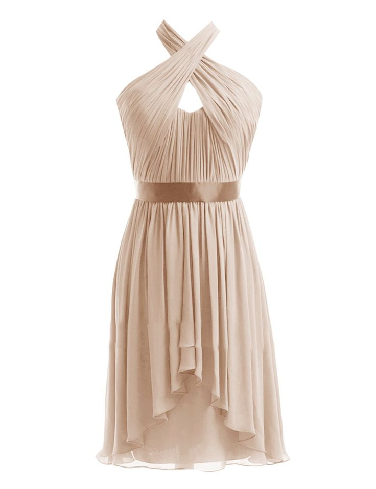 Diyouth Halter High-low Short Bridesmaid Dresses Belted Evening Party Gowns Champagne Size 14