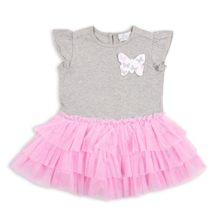 Vestido EPK para bebé niña de color gris, con falda de tul de color rosado y detalle de una mariposa estampada.