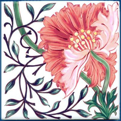 Poppy Tile by William Morris for Morris & Co, 1870s