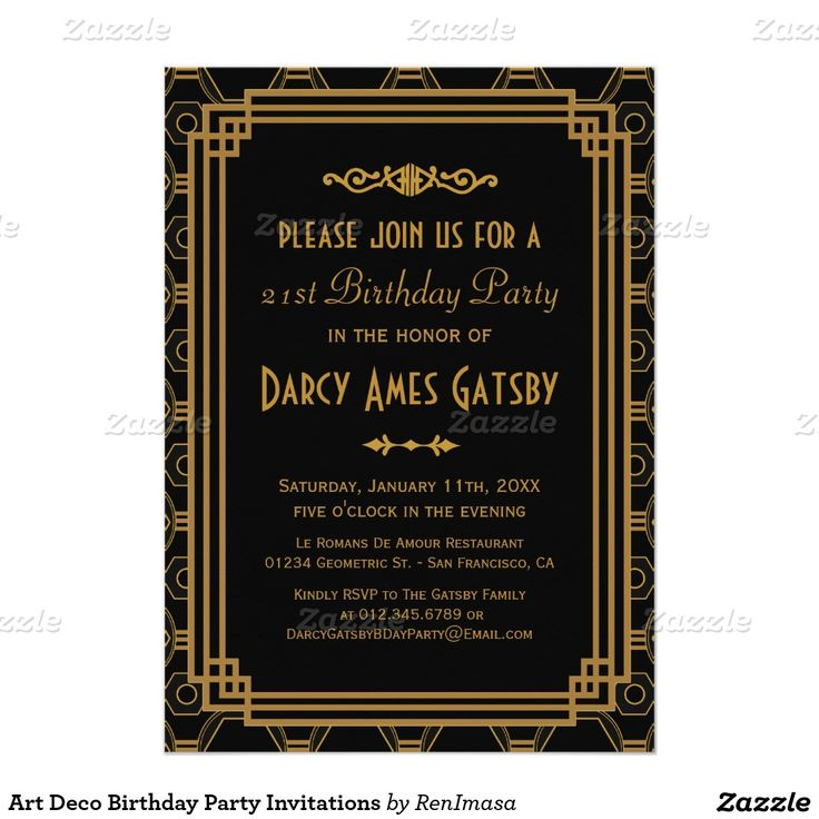 first birthday invitation wordings india%0A Art Deco Birthday Party Invitations