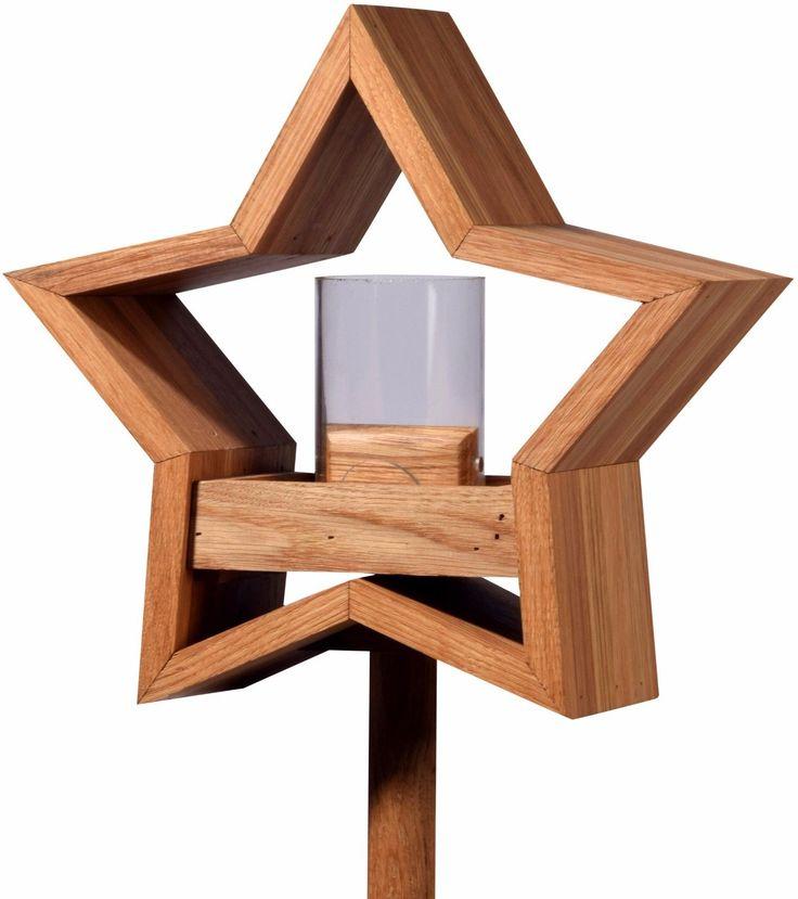 Stern Design Vogelhaus mit Ständer aus Eiche-Holz, Vogelfutterhaus Vogelhäuschen