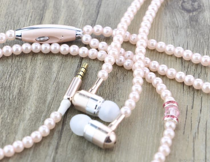 >> Click to Buy << Urizons Luxury Bling Diamond pink Pearl Necklace Chain Earphone Stereo Earphone With Mic For iphone 6 6s samsung Microphone #Affiliate