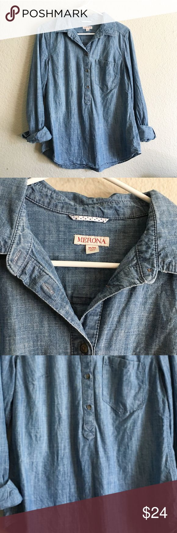 Denim Half Button Up Great denim button up. Great condition, only worn a few times. This denim is soft, and bottoms up half way. This can be casual or professional. Merona Tops Button Down Shirts