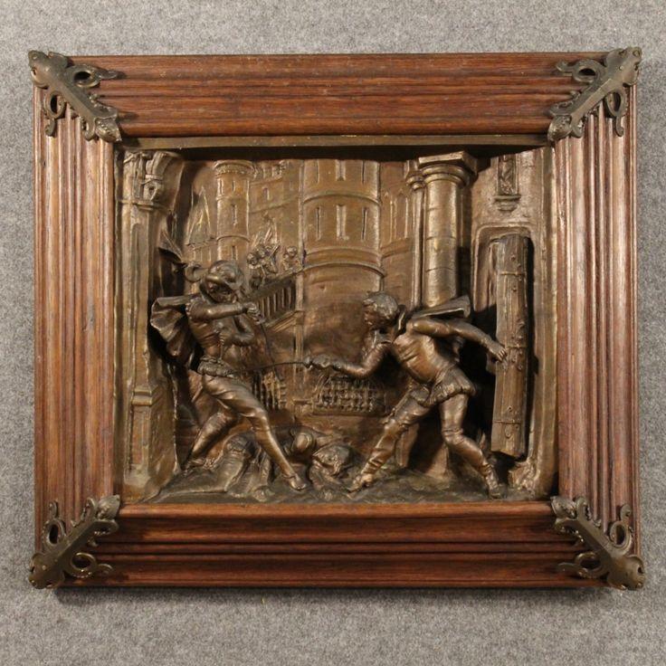 """850€ Dutch high-relief in metal """"Swordsmen duel"""". Visit our website www.parino.it #antiques #antiquariato #art #antiquities #antiquario #metallo #altorilievo #highrelief #metal #decorative #interiordesign #homedecoration #antiqueshop #antiquestore #duel #duello"""