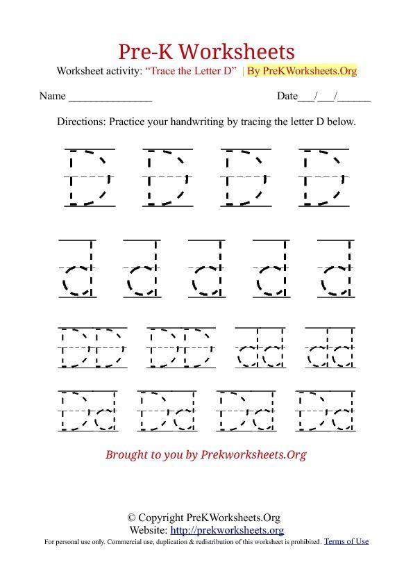 pre k tracing worksheet d pencil work pre k worksheets preschool worksheets preschool. Black Bedroom Furniture Sets. Home Design Ideas