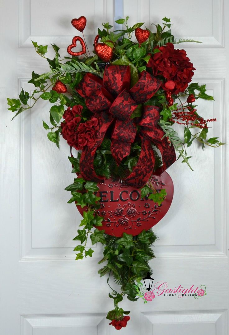Valentine Swag Wreath for that special holiday by Gaslight Floral Design. https://GaslightFloralDesign.com
