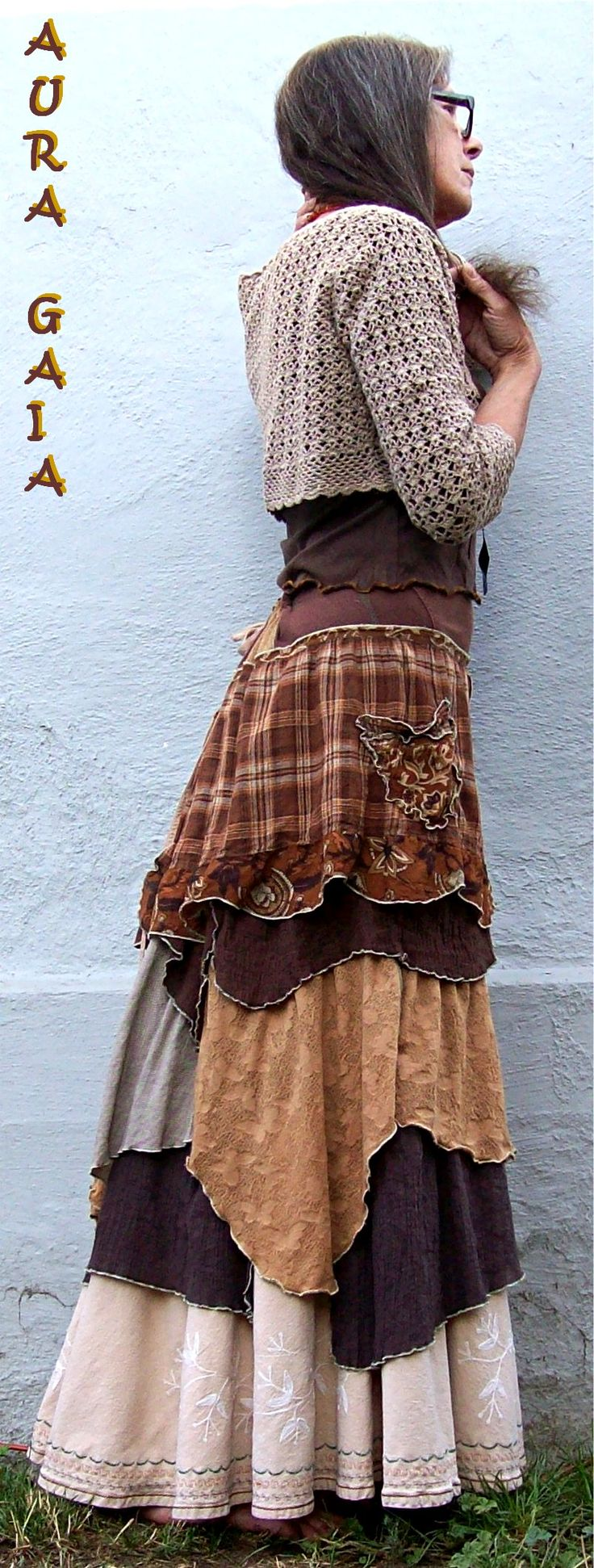 AuraGaia ~She's Complicated~ Poorgirl Upcycled Bustleback Skirt fits XS-2X Plus