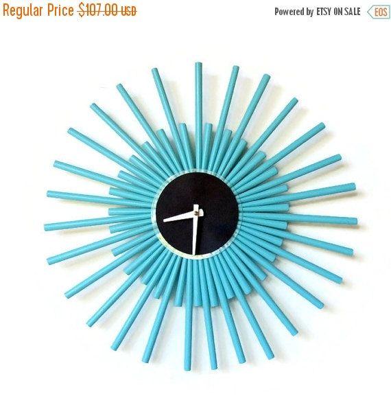 Wall Clock Sunburst Clock  Nautical Blue Wall Clock by Shannybeebo