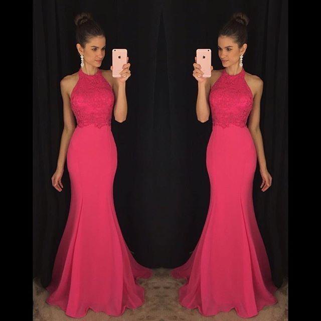 Wishesbridal Elegant Pink High Neck Sweep Train #Chiffon Trumpet Mermaid Prom #Dress Cwb0590