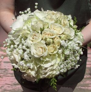 Click to view White Rose and Hydrangea with Babies Breath Bouquet