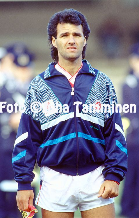 16.5.1991, Olympiastadion / Olympic Stadium, Helsinki.<br /> UEFA European Championship 1992 Qualifying match, Finland v Malta.<br /> Raymond Vella - Malta