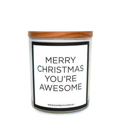 damselfly  - merry christmas, you're awesome candle