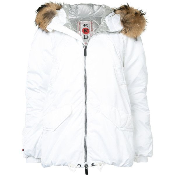 Kru fur hooded parka ($2,639) ❤ liked on Polyvore featuring outerwear, coats, white, parka coats, fur hood parka, white fur hood coat, fur hood coat and white parka