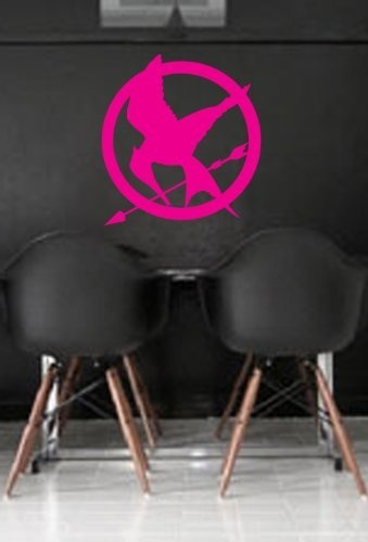 """If I had my own office just for writing, this would be in there for sure. """"Hunger Games Mocking Jay Wall Art Sticker Decal Peel and Stick. Pink"""""""