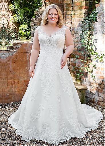 Charming Tulle V-neck Neckline A-line Plus Size Wedding Dresses With Lace Appliques