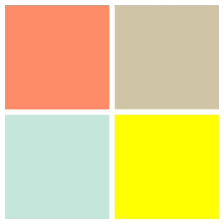 Color palette for unisex, gender neutral nursery. Salmon / coral, tan / beige, mint / seafoam green, sunshine / cheery yellow.