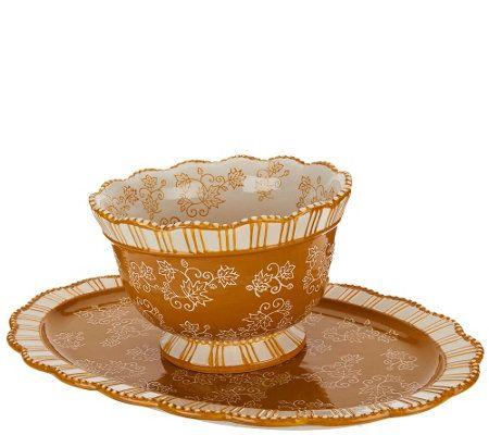 Temp-tations Floral Lace 2 qt. Bowl with Platter - QVC.com