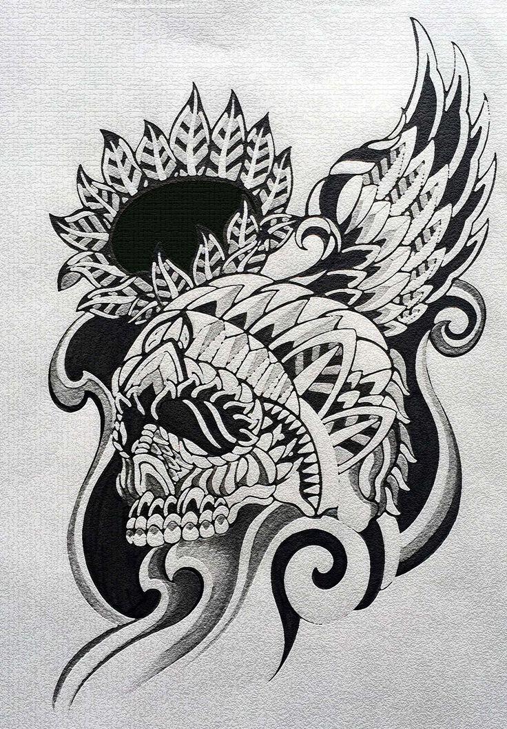 スカル トライバルタトゥー デザイン skull tribal tattoo design