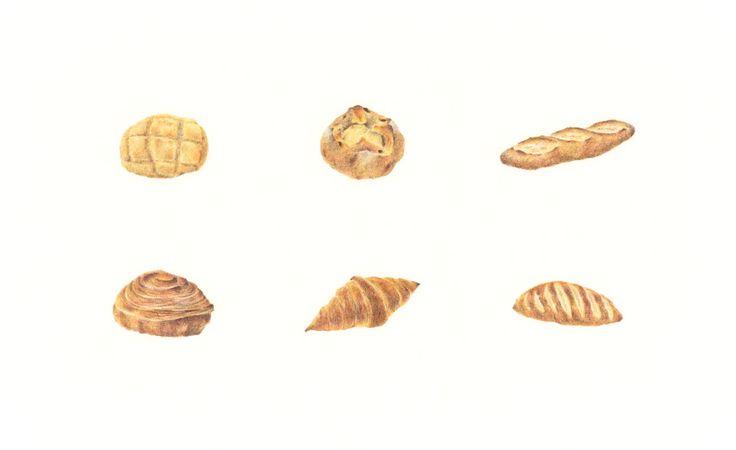 """Bread"" −RiLi, picture book, illustration, design ___ ""パン"" −リリ, 絵本, イラスト, デザイン ...... #bread #bun #colorpencil #パン #菓子パン #色鉛筆"