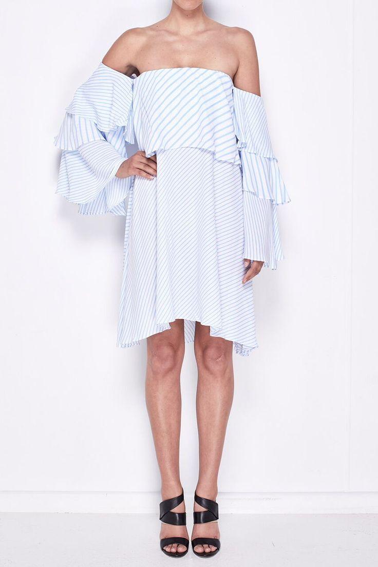 MLM Label - Mlm - Mesa Shoulder Dress (Blue Stripe)