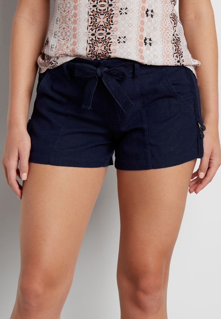 linen shorts with tie waist in navy blue