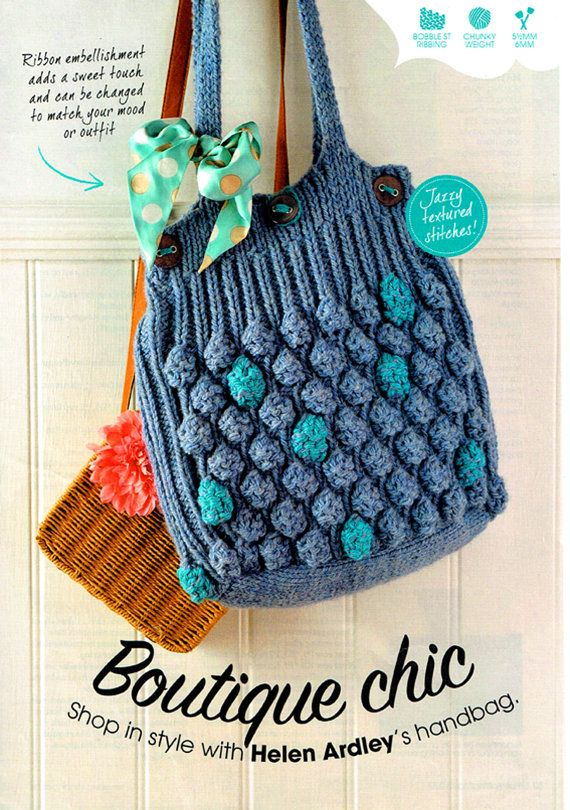 Original Ladies Womens Beach Bag Knitting Pattern Summer EASY