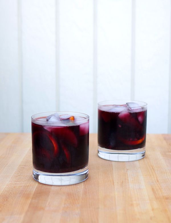 Burnt Sage and Blackberry Sangria for Two - Red Wine, Bourbon, Black Pepper Syrup (Recipe), Lime Juice, Burnt Sage Leaves, Blackberries, Blood Orange Slices.