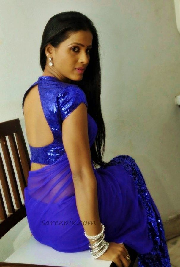 """Telugu latest movie """"Affair"""" heroine Prashanthi backless saree photos. She is eye catchy in blue saree with backless blouse at the movie audio launch."""