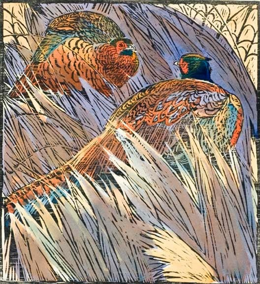 Robert Greenhalf (1950-): Sparring Pheasants, woodcut