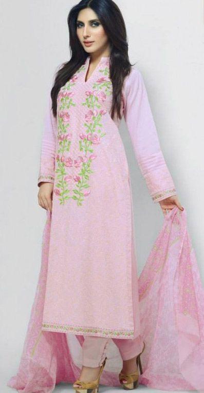 Pink Cotton Lawn Shalwar Kameez Dress $110.99 DESIGNER LAWN 2014 Pakistani Indian Dresses Online, Men Women Clothing and Shoes   PakRobe.com