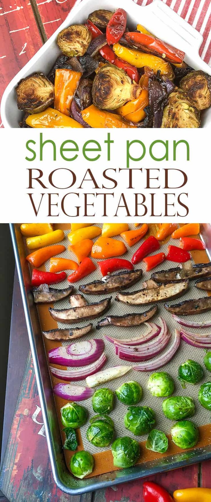 Mediterranean Roasted Vegetables taste INCREDIBLE! These sheet pan roasted vegetables are roasted to perfection to bring out their natural sweetness. Season with Herbs de Provence or Italian seasoning. #sheetpan #roastedvegetables #healthydinner #mediterraneanroastedvegetables