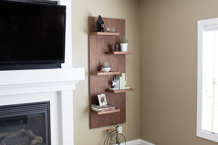 Add a dramatic style statement in any room with these floating shelves. Though they look like they're made of solid wood (walnut in our case), this project is actually all plywood that has iron-on edging to cover the exposed plywood edges. You'll be amazed how easy this shelf unit is to build.