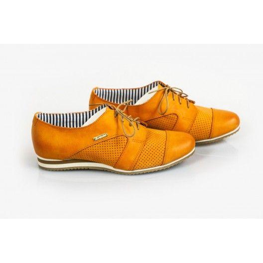 Női bőr gyaloglást perforált narancs DT229 - manozo.hu