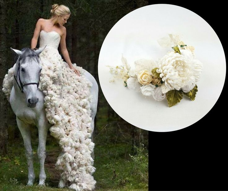 Sueñas con algo muy especial para tu boda? Nos adaptamos a tus sueños. Tocado de novia de flores blancas y hojas verdes