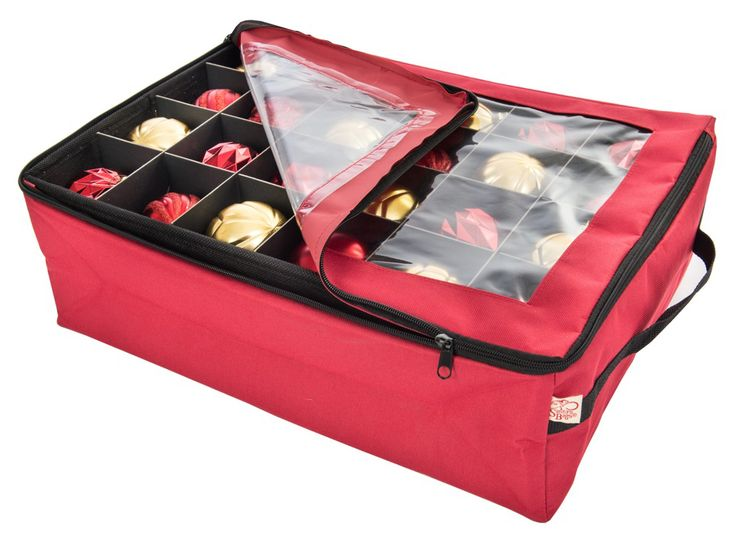 This Zippered Ornament Storage Box is made from durable oplyester fabric and can hold up to 48 ornaments and keep them safe year after year