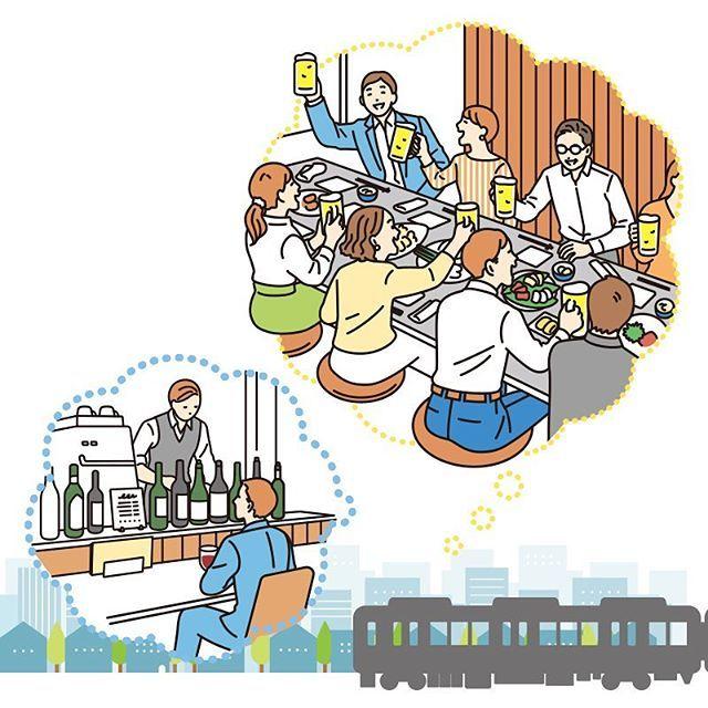 ぐるなび 電車内広告 どいせなwork 2018 イラスト Illustration