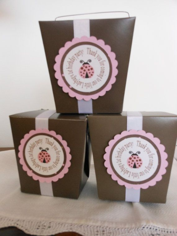 Pink and Brown LadyBug Take Out Party Boxes by ASweetCelebration, $30.00