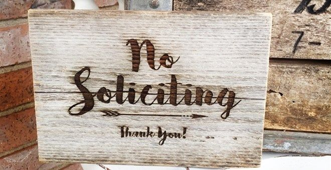 Rustic Barnwood   No Soliciting Sign
